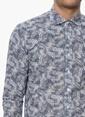 Network Desenli Uzun Kollu Gömlek Lacivert